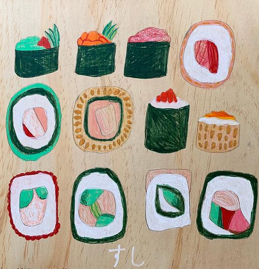 """12 Pieces of Sushi"" by Jackson Sutton Fine Art Print"