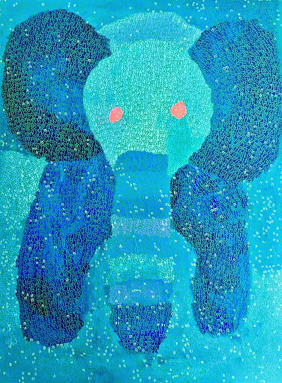 """The elephant is having a great day"" by King Nobuyoshi Godwin Fine Art Print"