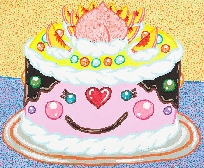 """""""Maruko's Child's Smile Peach Cake"""" by Yukari Sakura"""