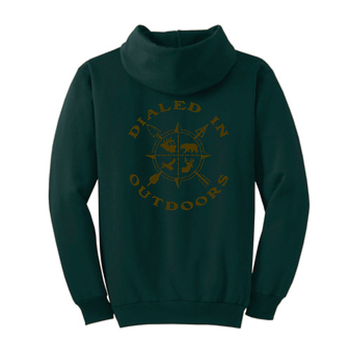 Dialed in Outdoors Green Hoodie w/ Brown Imprint