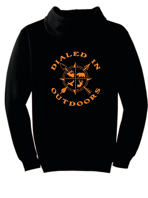 Dialed in Outdoors Black Hoodie w/ Orange Imprint