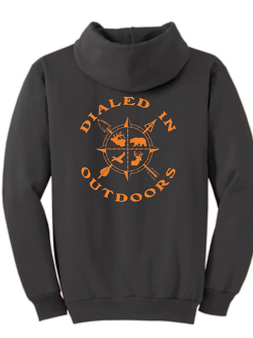 Dialed in Outdoors Grey Hoodie w/ Orange Imprint