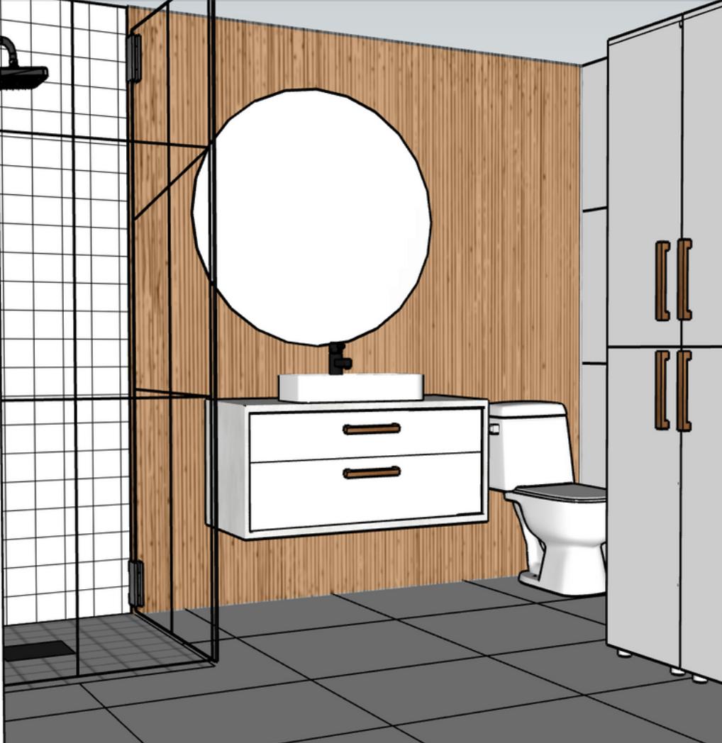 Kylpyhuonesuunnitelman havainnekuva. Puupaneeli on onneksi jälleen osa kotien sisustusta.