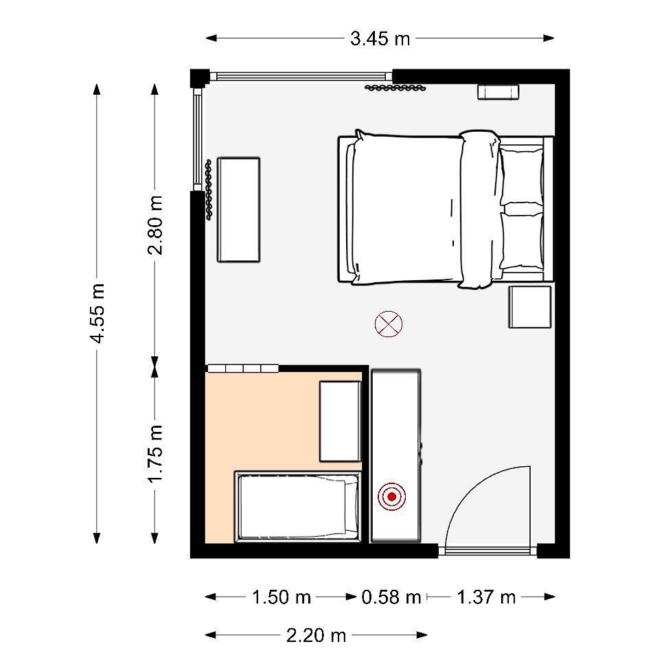 Makuuhuoneeseen rakennettiin nurkkaus, joka toimii pienen lapsen huoneena, tai työtilana.