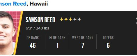 3-star DL Samson Reed Has a Couple Standing Out
