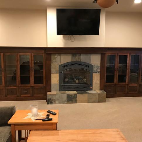 Alder Fireplace Surround With Glass Door