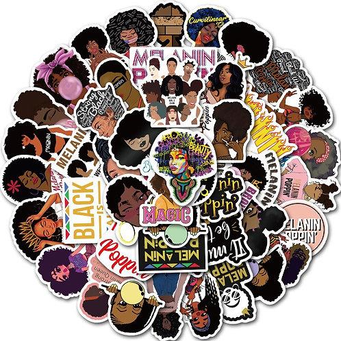 50pcs/Lot Inspirational Black Girl Melanin Poppin Sticker