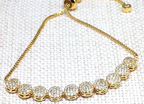 CZ Charm Bracelet with Lasso Clasp