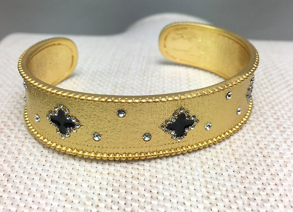 Small Brushed Gold Fashion Bangle with Black Flower Accents