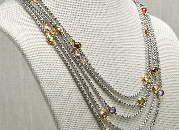 Fashion MultiStrand Short Necklace with Multicolored Gems