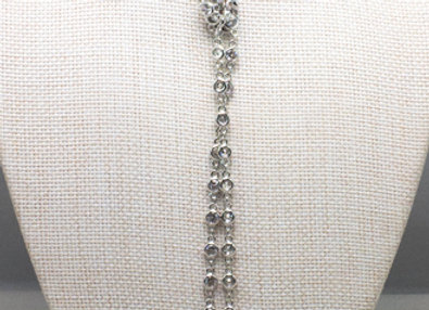White CZ Station Necklace with Raw Pearls