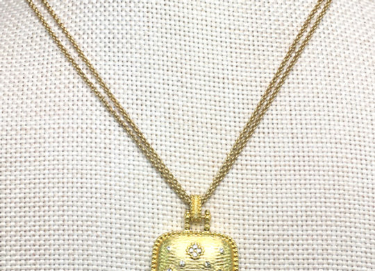 Brushed Gold Pendant with CZs Necklace