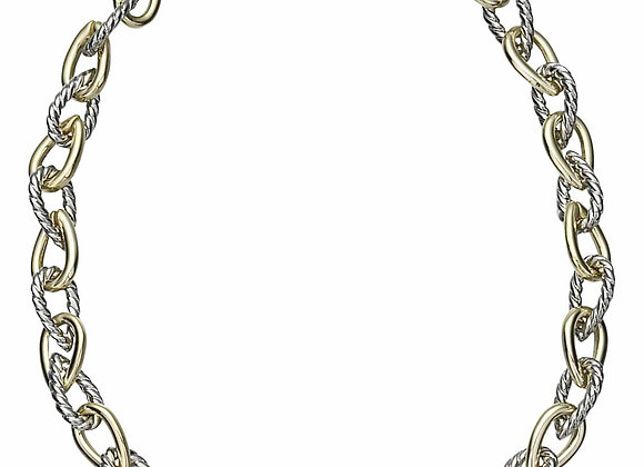 Alternating Yellow and White Chain Fashion Necklace