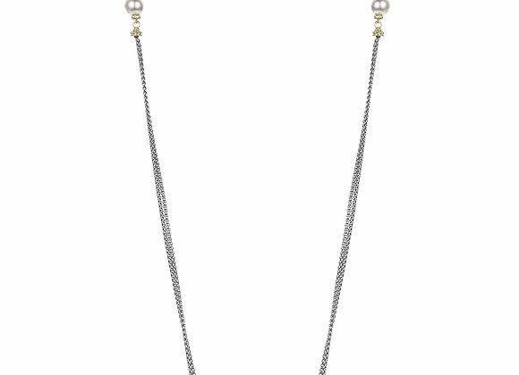 Double Strand Twist Bar and Pearl Fashion Necklace