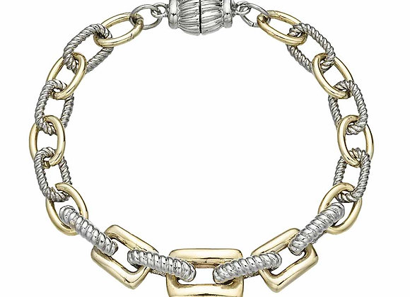 Fashion Two Tone Bracelet with Rectangular Links