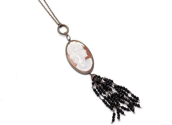Amalfi Cameo and Black Onyx Tassel Necklace