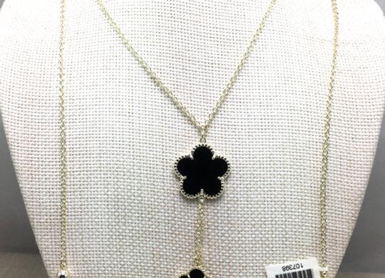 Three Black Flower Pendant Necklace