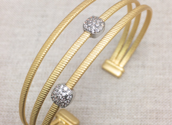 Three Band Bangle with CZ Charms