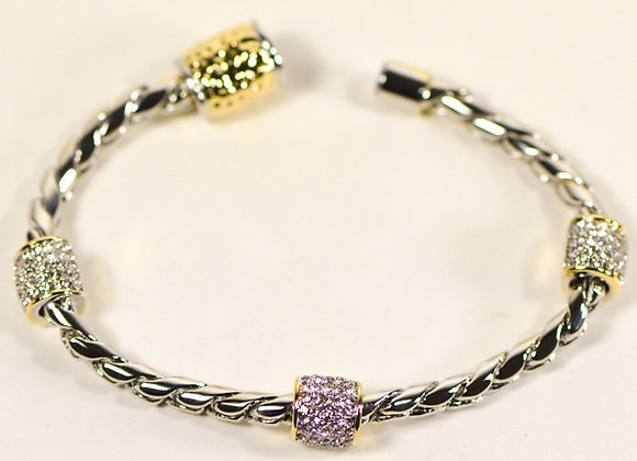 Twisted Rope Fashion Bracelet with CZ Charms