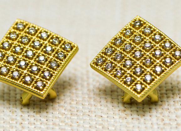 CZ Grid Earrings