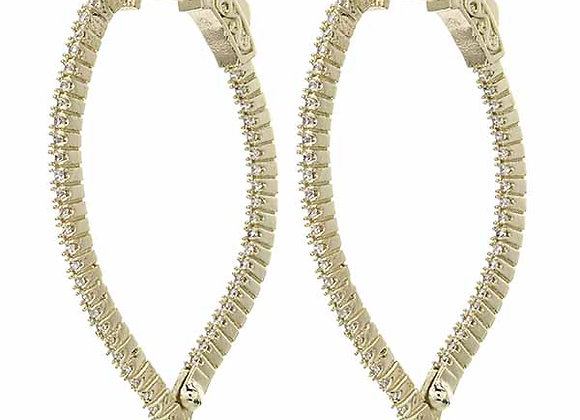 Large CZ Pointed Drop Hoop Fashion Earrings