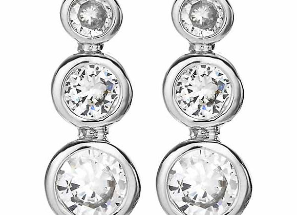 Bezel CZ Three Stone Earrings