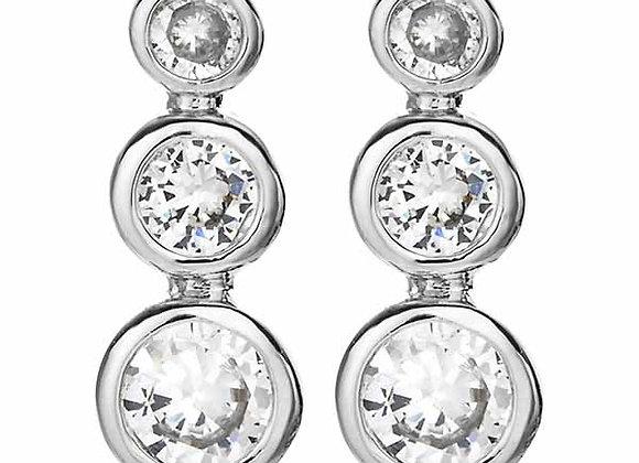Bezel CZ Three Stone Earrings Rhodium