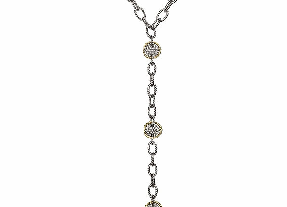 Drop CZ and Chainlink Fashion Necklace