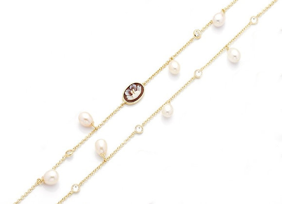 Amalfi Cameo and Fresh Water Pearls Necklace