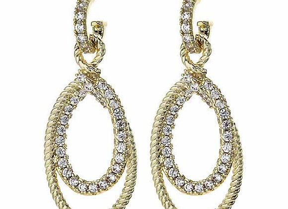 Fashion Dangle Hoop CZ Earrings