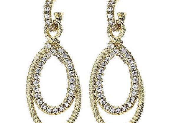 Fashion Dangle Hoop CZ Earrings