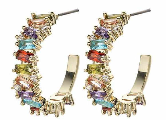 Multicolored Gem Half Hoop Fashion Earrings