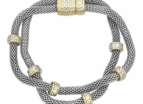 White Fashion Mesh Double Strand Bracelet