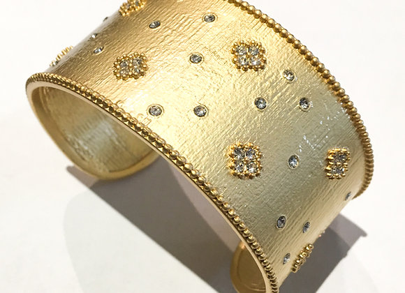 Brushed Gold Fashion Bangle with CZ Flower Accents