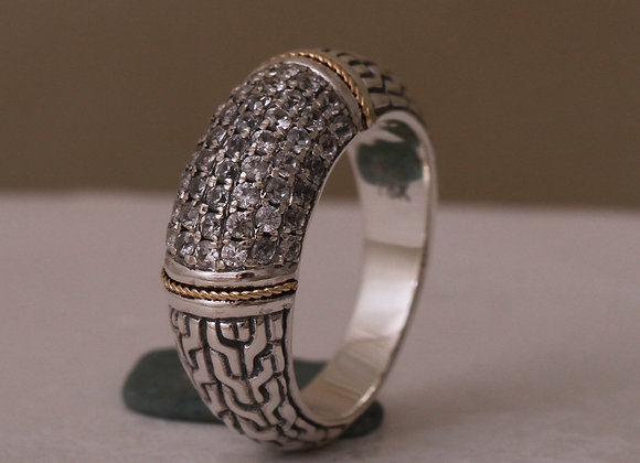 Bali CZ Ring with 18K Accent