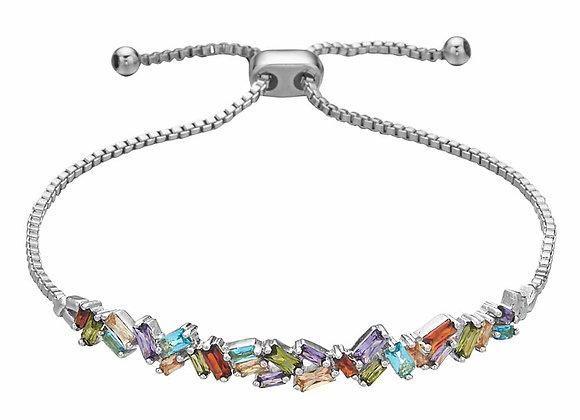 Multicolored Stone Cluster Strand Bracelet