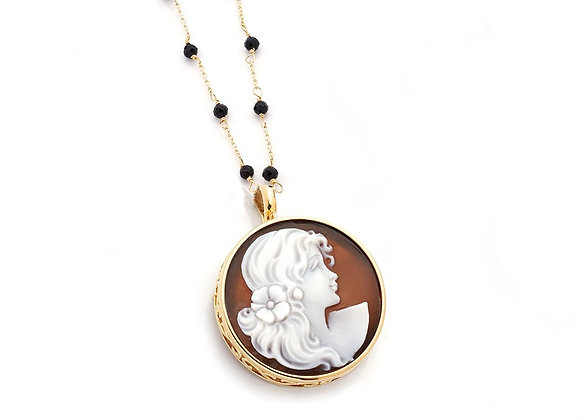 Amalfi Cameo and Black Onyx Pendant