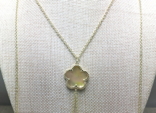 Three White Flower Pendant Necklace