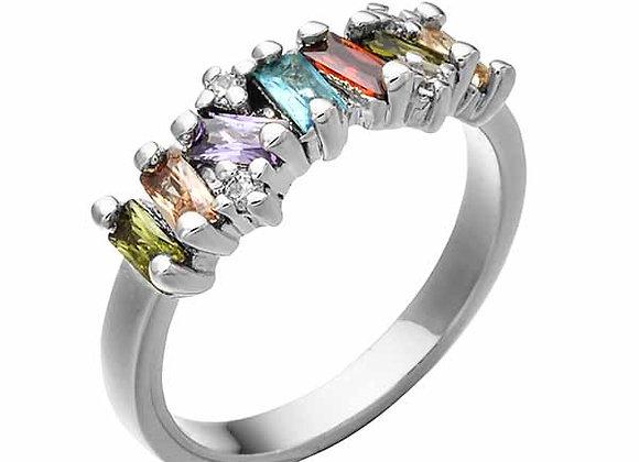 Multicolored Gem Cluster Strand Fashion Ring
