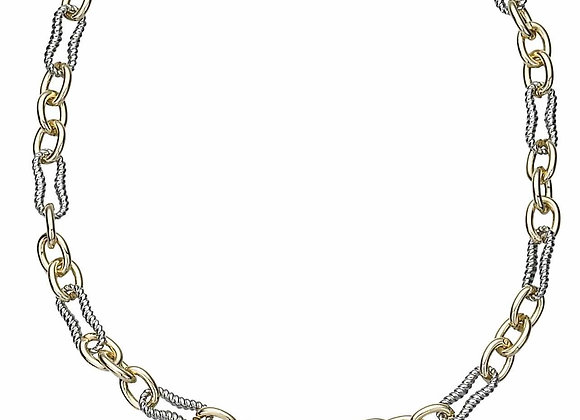 Twisted Oval and Chain Fashion Necklace