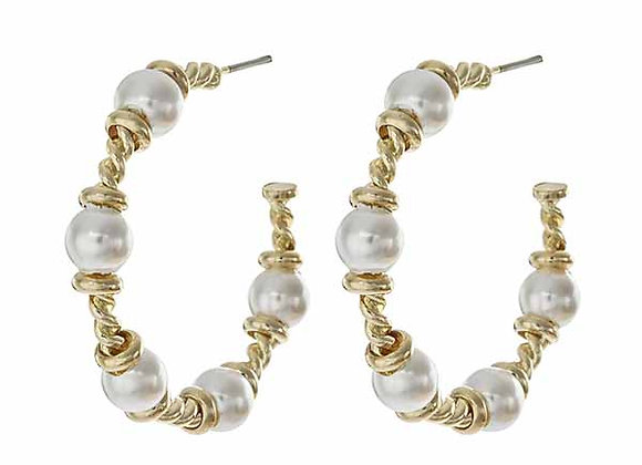 Pearl Style Accented Half Hoop Fashion Earrings