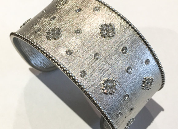 White Brushed Gold Fashion Bangle with CZ Flower Accents