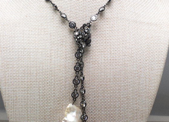 Black CZ Station Necklace with Raw Pearls