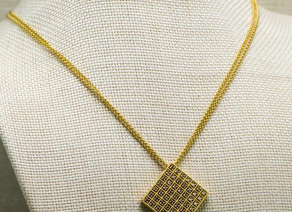 CZ Grid Pendant Necklace
