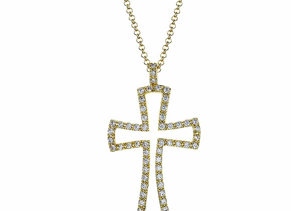 Squared Open Cross Fashion Necklace