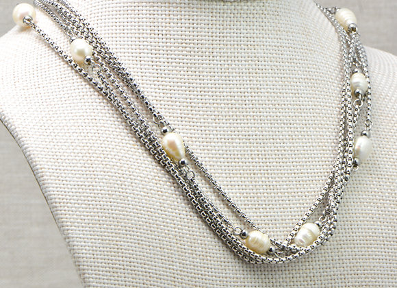 Short MultiStrand Pearl Necklace