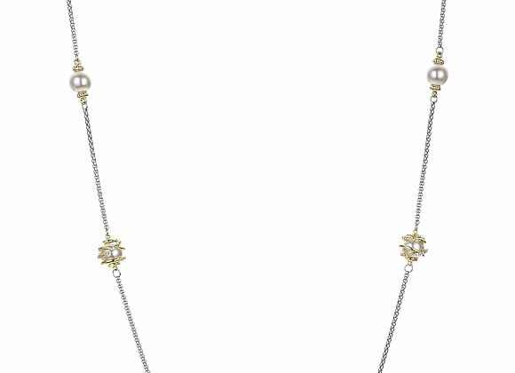 Long Pearl Style and CZ Fashion Necklace