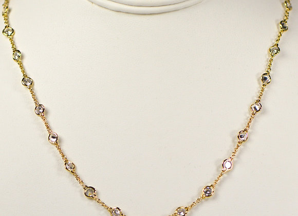 CZ Charm Station Choker Necklace
