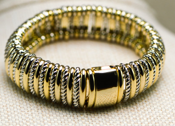 Yellow Fashion Bracelet with Alternating Links