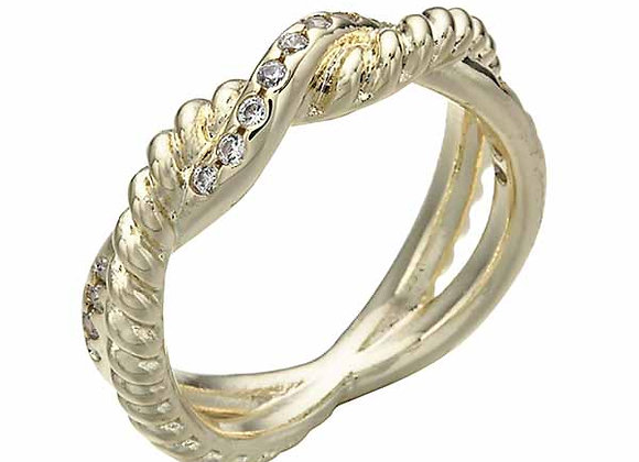 Twisted Double CZ Band Fashion Ring